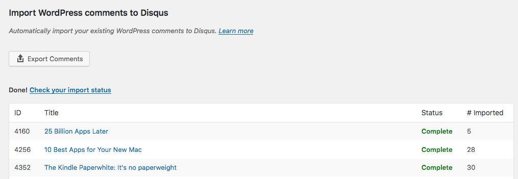 Screenshot of automatic exporting option in Disqus for Wordpress plugin