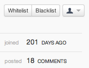Screenshot of user history in Disqus moderation interface